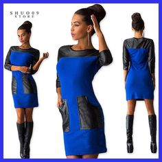 Women Dress with PU pocket fashion popular Three Quarter sleeve O-neck loose spring autumn Ladies dresses