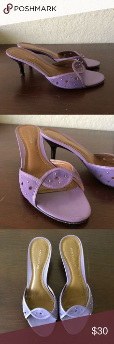 Ann Taylor lavender purple sandals /  low heels Very elegant low heels. The color is more true to the first two pictures - the 3rd looks much more blue than they actually are. Ann Taylor Shoes Heels