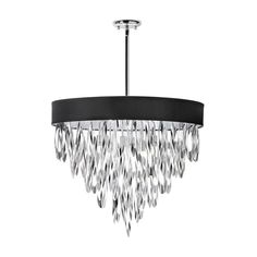 Inspired by the movie sets of the 1930s, this chandelier will instantly create a stylish environment in your own home. Eight lights provide brilliant illumination, while a black shade and polished chro...  Find the Lucinda Chandelier in Black, as seen in the A Day at the Paris Flea Collection at http://dotandbo.com/collections/a-day-at-the-paris-flea?utm_source=pinterest&utm_medium=organic&db_sku=DNL0018-blk