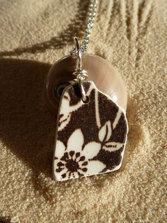 Brown and white floral beach pottery by atreasurefromthesea, $18.99