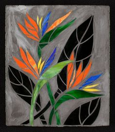Mosaic flowers and butterfliesBeautiful exterior wall with flowers and butterflies - SalvabraniMosaic House Numbers, Palm Tree, Tropical, Bird of Paradise Flowers, in the works. Janet Dineen's Mosaic Art by HappyHomeDesignArt on EtsyVery nice Mosaic Mosaic Flowers, Stained Glass Flowers, Stained Glass Art, Mosaic Glass, Mosaic Artwork, Mosaic Wall Art, Tile Art, Stained Glass Projects, Stained Glass Patterns