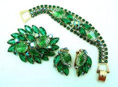 Vintage Art Glass Parure Bracelet Brooch Earrings
