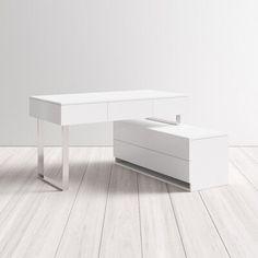 Contemporary Desk, Modern Desk, All Modern, White L Shaped Desk, Reception Desk Design, Reception Furniture, Pink Office Decor, L Shaped Executive Desk, Girl Desk