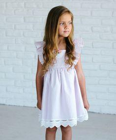 Loving this Light Pink Flower Ruffle A-Line Dress - Girls on #zulily! #zulilyfinds