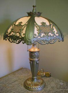 "Antique slag glass table lamp. 25"" x 18"""
