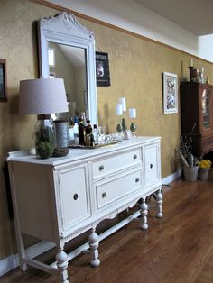 Antique painted dresser used as buffet white