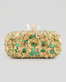 Lily Floral Embroidered Box Clutch, Gold/Green