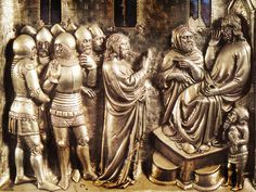 An altar piece in Pistoia Cathedral, Italy, circa 1376, showing soldiers wearing bascinets