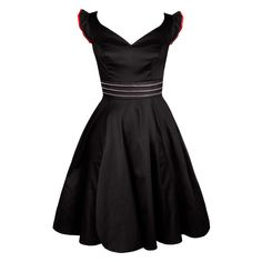 Get yourself a stunning silhouette in this black fit and flare dress with pleated cap sleeves. These are lined with red giving that extra red hot hint of detail. The elegant neckline and waist line detail are all components which makes this the dress for you! Buy it now to get the Rockabilly style.  30 c Cool Wash, No Tumble Dry, Cool Iron