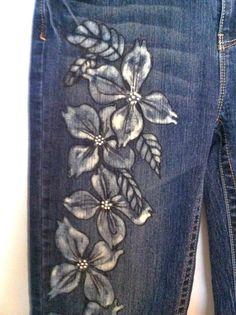 Bleached Denim Jeans Cut Off Jeans Size 11 by margaretgaunt