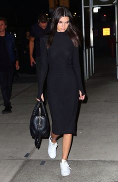 im not sure about the white tennis with this black dress, but i like the casual style