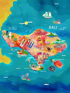A map of Bali for Garuda Indonesia's inflight magazine.