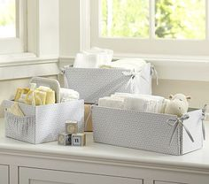 Is it wrong how badly I covet these?  Yes I know their function is to hold diapers and ointments but I don't care.  Took all my will power not to walk out of PBKids with the diaper caddy this weekend.  Gray Geo Nursery Storage #PotteryBarnKids Harper Nursery, Girl Nursery, Nursery Canvas, Nursery Room, Nursery Gray, Changing Table Storage, Nursery Bedding, Nursery Decor, Nursery Design
