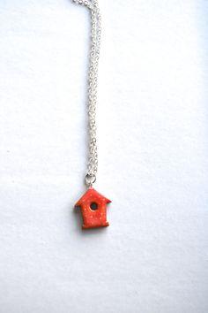 Pink polka dot bird house necklace birdhouse by WishlistArt