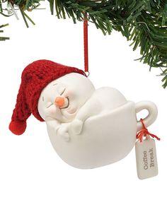 Snowpinions Snowman Coffee Break Ornament   zulily