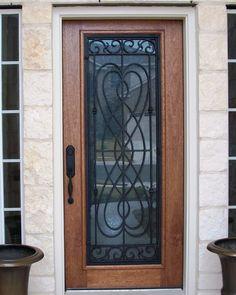 Mahogany Wood And Wrought Iron Door. 3/4 Lite Madrid Style Iron. | Iron  Grill Wood Doors | Pinterest
