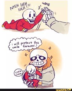 I always think of Sans as younger than Papyrus, but this is cute. Or maybe twins.
