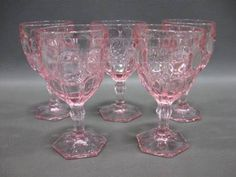 Lot of 5 vintage Fostoria pink moonstone goblets.