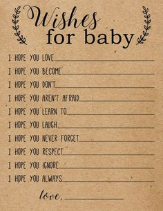Baby Wish Cards, Wishes for Baby Cards, Baby Advice Printabl… – Baby Shower Ideas Boho Baby Shower, Bebe Shower, Baby Shower Wishes, Baby Shower Cards, Girl Shower, Baby Shower Brunch, Baby Shower Activities, Baby Shower Themes, Shower Ideas