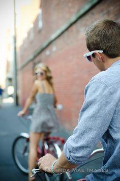 Cruiser Bike Engagement photos, Amanda Mae Images, Bend OR Wedding Photographer