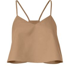 Cropped Poplin Beige Tank (2.596.620 IDR) ❤ liked on Polyvore featuring tops, v neck tops, beige crop top, beige tank top, rouched top and v-neck tops