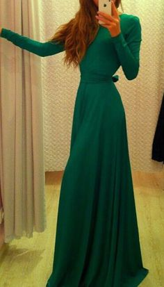 Green Plain Belt Round Neck Fashion Maxi Dress