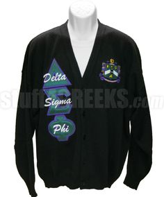 Black Delta Sigma Phi cardigan sweater with the crest on the left breast and the organization name embroidered over the Greek letters down the right.