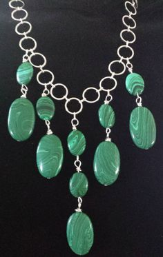 Malachite Bib Style Necklace and Earring Set by Alimaecreations, $30.00