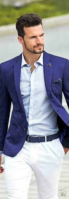 Shop this look on Lookastic:  https://lookastic.com/men/looks/blazer-dress-shirt-chinos-pocket-square-belt/11202  — Light Blue Dress Shirt  — Navy and White Polka Dot Pocket Square  — Blue Blazer  — Navy Leather Belt  — White Chinos