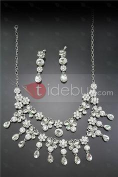 Endearing Alloy with Flower Shaped Rhinestone Wedding/Bridal Jewelry Set