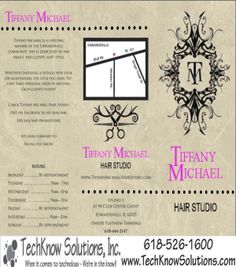 Front of Brochure for Tiffany Michael Hair Studio #techknowsolutions