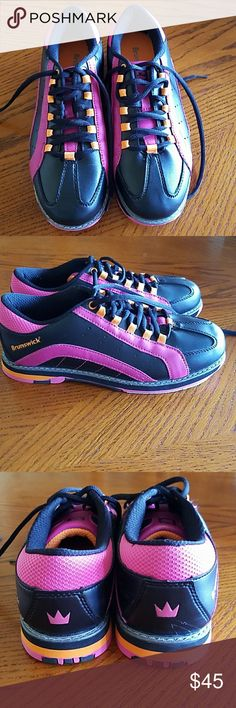 Women's Bowling shoes New bowling shoes in awesome colors of black, neon Orange and hot pink. Wore them for one day, but they are just too wide for my feet. Brunswick Shoes Athletic Shoes
