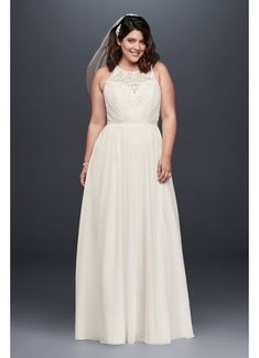 David'S bridal collection beaded chiffon halter plus size wedding dress Plus Size Wedding Gowns, Tea Length Wedding Dress, Tea Length Dresses, Wedding Dress Styles, Plus Size Dresses, Gown Wedding, Lace Wedding, Davids Bridal, Bridal Party Dresses