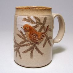 Wren Pottery Coffee Mega Mug with a pine bough by JimAndGina, $30.00