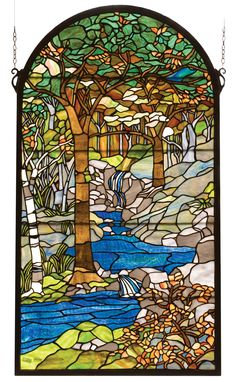 Meyda's interpretation of Louis Comfort Tiffany's Waterbrooks window is made using hand cut glass individually wrapped in copper foil. A beautiful selection of stained art glass in neutral tones of Ea