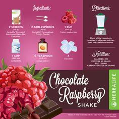 EN Herbalife Chocolate Raspberry Shake Recipe [Infographic] #Herbalifeshakerecipe #Herbalife #Infographics #herbaliferecipes https://www.goherbalife.com/shedpounds