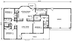 First Floor Plan of Ranch   House Plan 45212