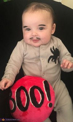 Nikki: My baby Daisy is dressed up as the baby from Adams Family. We stitched a black spider out of felt on a grey onesie and darkened her brows and gave. Adams Family Halloween, Addams Family Halloween Costumes, Adams Family Costume, Cute Baby Halloween Costumes, Newborn Halloween, Halloween Costume Contest, Family Costumes, Toddler Costumes, Halloween Kids