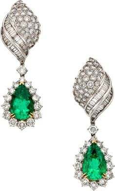 Emerald, Diamond and White Gold Earrings