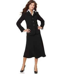 I'd been looking for the perfect modest business suit to wear to grad school interviews. This is it. The skirt falls solidly below the knee even on me-- and I have long legs. Perfect for tzniut, Pentecostal or Apostolic business women (or maybe Mormon women on mission). By Jones New York, at Macy's and Von Mauer.
