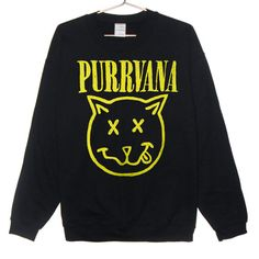 Purrvana Cat Sweatshirt - Nirvana parody, Kittens, Cats, Drippy Slime Kawaii Grunge