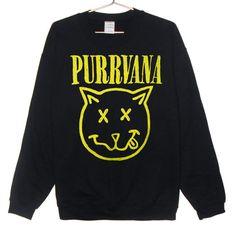 Purrvana Cat Sweatshirt - Nirvana parody, Kittens, Cats, Drippy Slime Kawaii Grunge