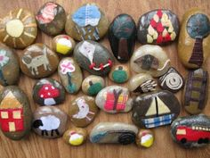 Story stones - mod podge images to rocks for children to use in pretend play