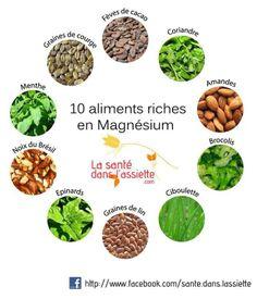 10 aliments riches en magnésium : fèves de cacao _ coriandre _ amandes _ brocolis _ ciboulette _ graines de lin _ épinards _ noix du brésil _ menthe _ graines de courge