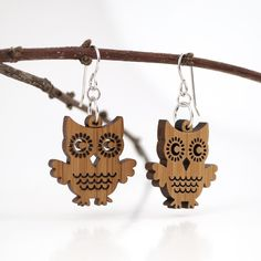 Owl Wooden (Bamboo) Earrings - www.graphicspaces.com