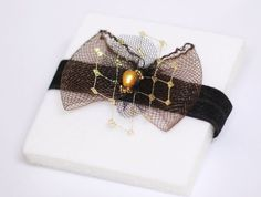 Bow Garter Brown Black Gold Pearl - Gift for Bride - Bridal Shower Gift - Elegant Crinoline Accessory - need in black and gold