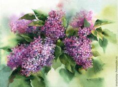 Картины цветов ручной работы. Ярмарка Мастеров - ручная работа. Купить Сиреневая. Handmade. Сиреневый, сирень, акварель, цветы акварелью