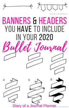 Read here for super easy to follow, step-by-step tutorials for all the essential bullet journal banners and headers you can include to spruce up your pages! #bulletjournal #bulletjournaldoodles #bujo #bulletjournaling #planneraddict #doodling #banners #headers