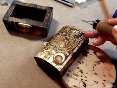 Small wooden trunk pyrography, wood burning