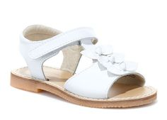 L'Amour Girls C-550 White T-Strap Bow Sandals